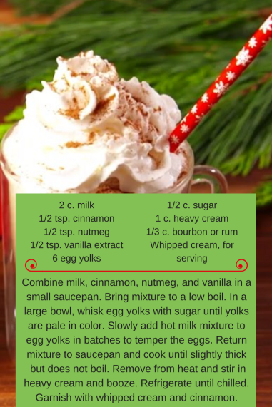 1_2 tsp. cinnamon for rimming glasses2 tsp. sugar for rimming glasses4 oz. eggnog4 oz. vodka4 oz. Kahlua3 tsp. molasses1_8 tsp. gingerWhipped cream for toppingMolasses drizzle for toppin