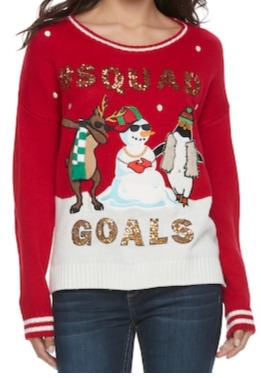 https://www.kohls.com/product/prd-2976507/juniors-its-our-time-squad-goals-ugly-christmas-sweater.jsp?ci_mcc=ci&utm_campaign=JUNIOR%20SWEATERS&utm_medium=CSE&utm_source=google&utm_product=74004424&CID=shopping15&utm_campaignid=596849177&gclid=Cj0KCQiAgZTRBRDmARIsAJvVWAsxGhJg17mgpqd88P19FZ4SK-_asyqLMJVUHxFaA1TDQwP3Ps8limkaAsx2EALw_wcB&gclsrc=aw.ds&dclid=CIWj_abJ8dcCFcuMYgodoqAPkg